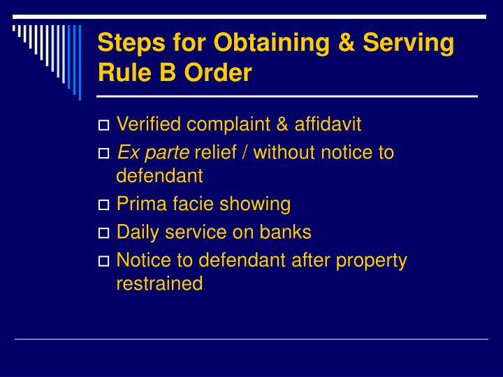 Steps for Obtaining & Serving