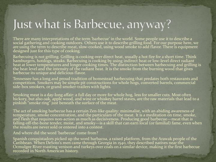 Just what is barbecue anyway