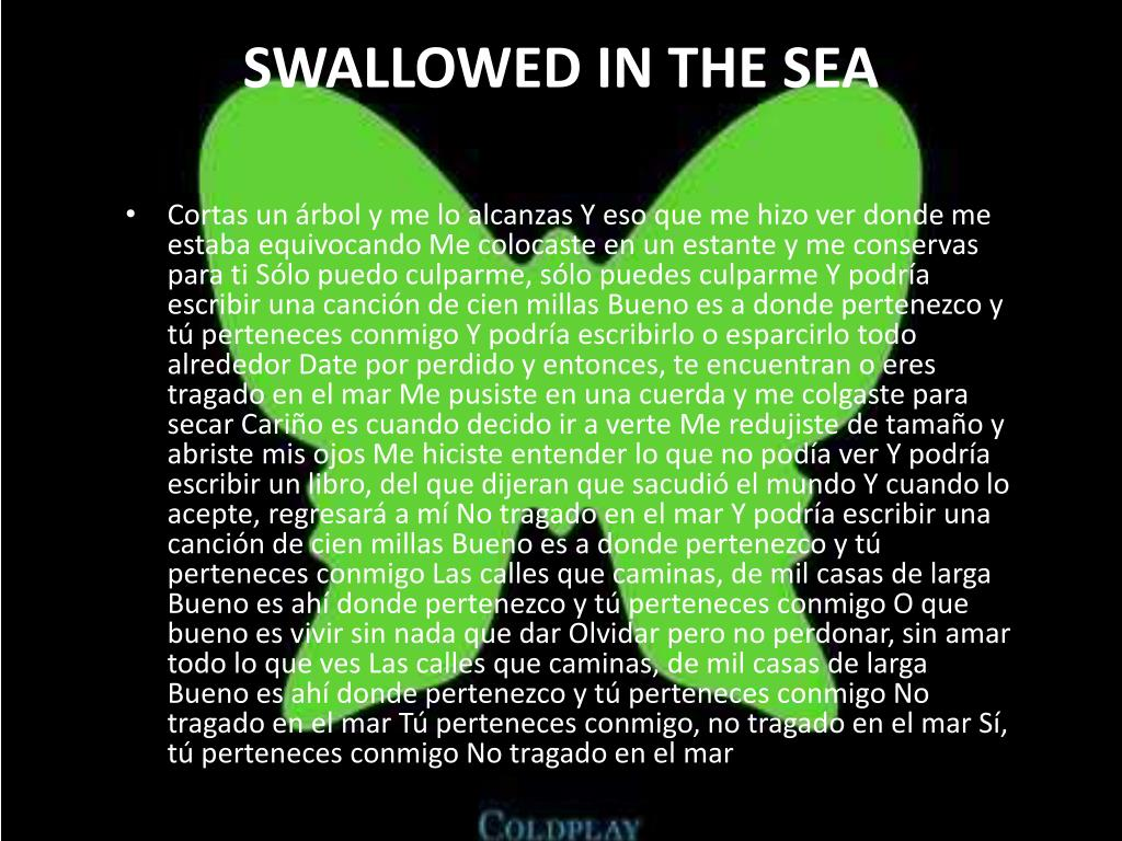 SWALLOWED IN THE SEA