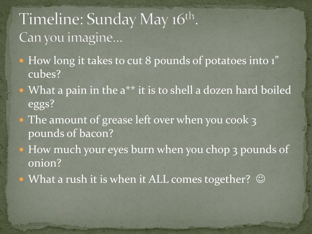 Timeline: Sunday May 16