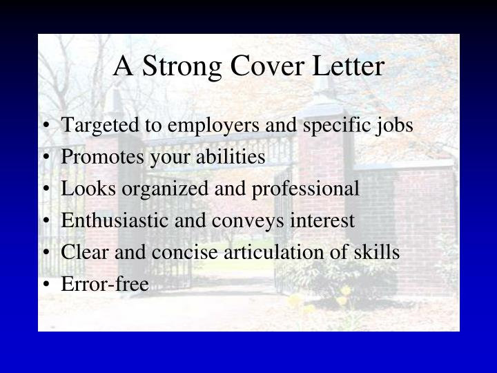 A Strong Cover Letter