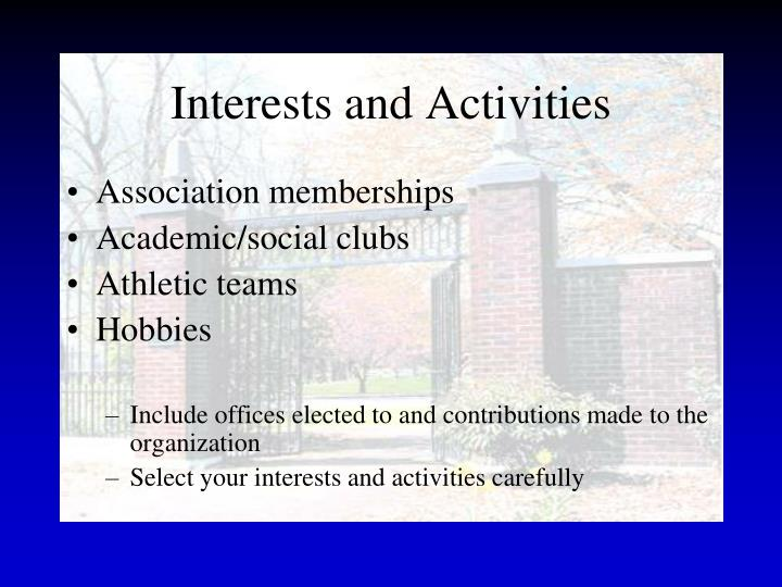 Interests and Activities