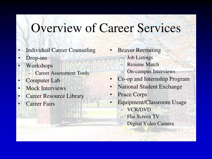 Overview of career services