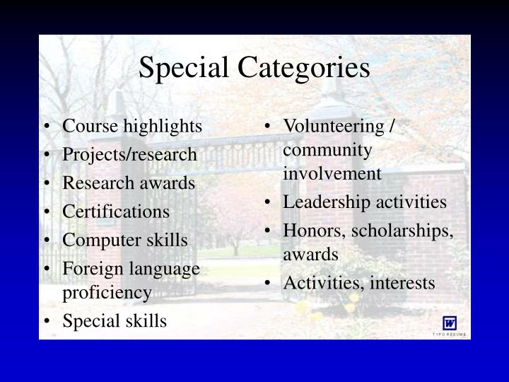 Special Categories