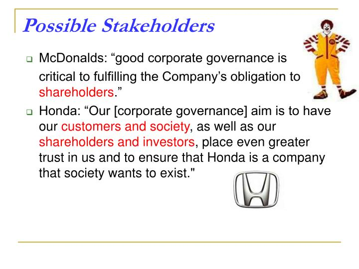 mcdonald stakeholders This is a report about the various marketing strategies of mcdonald's along with various related examples by dishantsidana in types  magazines/newspapers, marketing.