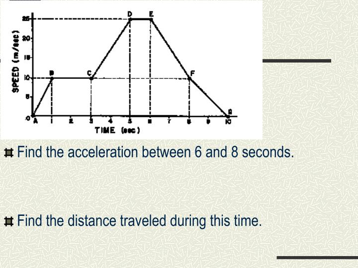 Find the acceleration between 6 and 8 seconds.