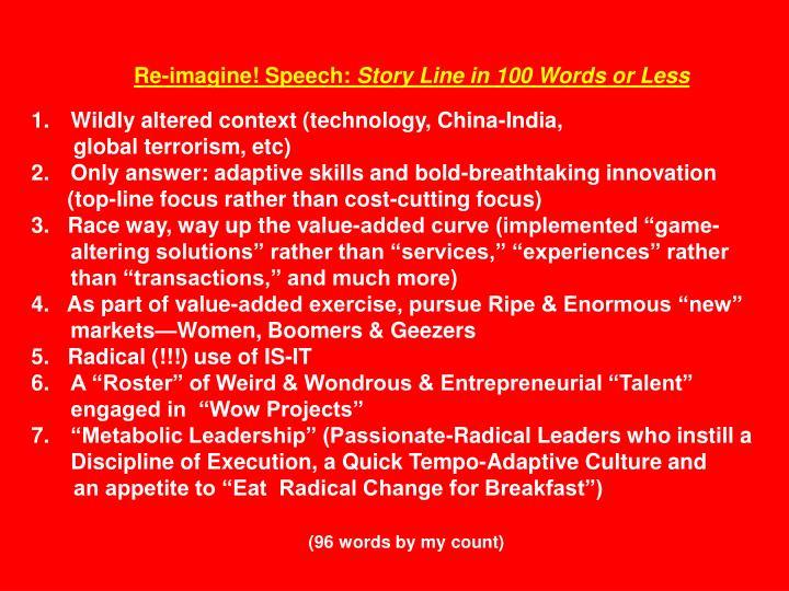 Re-imagine! Speech: