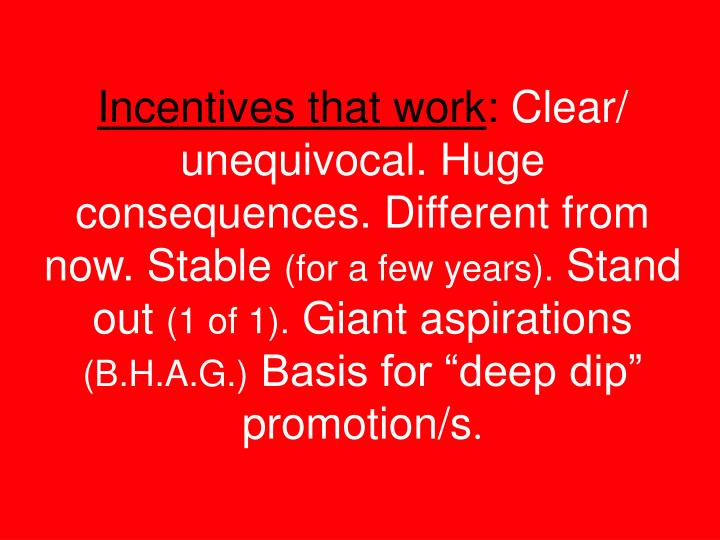 Incentives that work