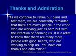 thanks and admiration