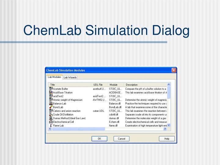 ChemLab Simulation Dialog