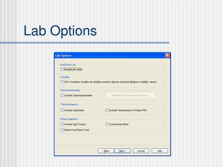 Lab Options
