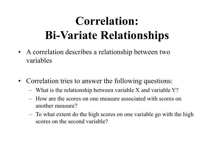 Correlation bi variate relationships