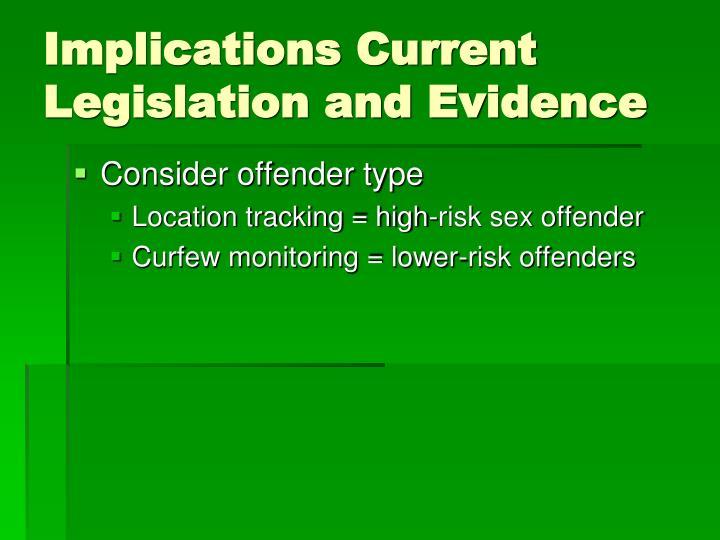 Implications Current Legislation and Evidence