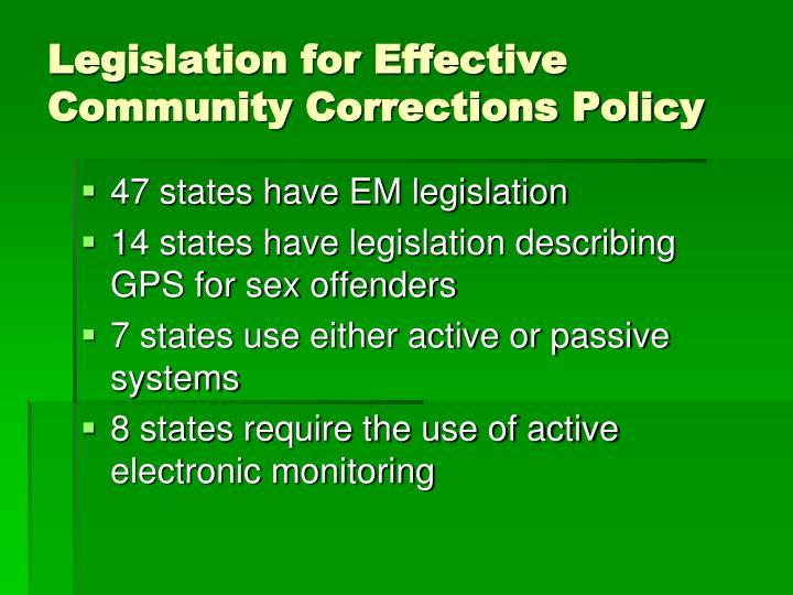 Legislation for Effective Community Corrections Policy