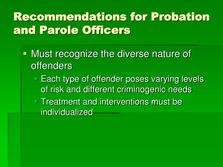 Recommendations for Probation and Parole Officers
