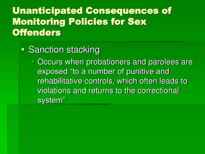 Unanticipated Consequences of Monitoring Policies for Sex Offenders