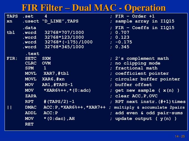 FIR Filter – Dual MAC - Operation