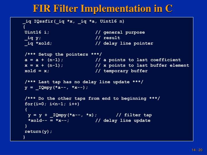 FIR Filter Implementation in C