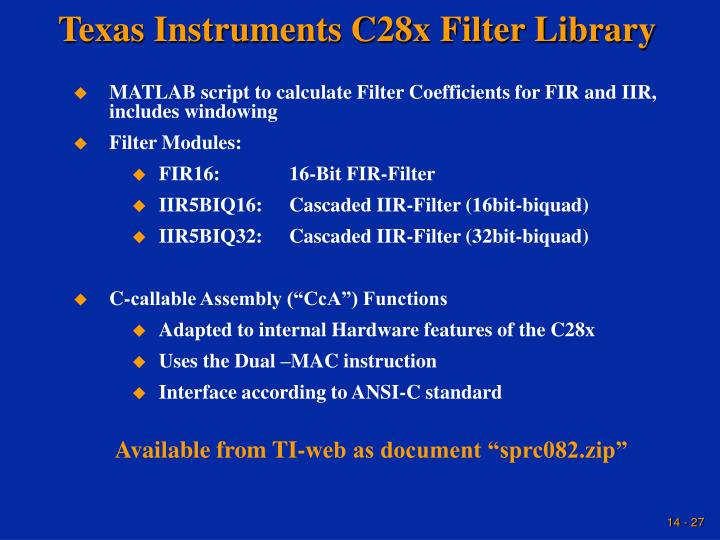 Texas Instruments C28x Filter Library