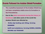 events followed the arabian shield formation
