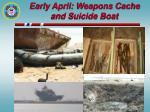 early april weapons cache and suicide boat