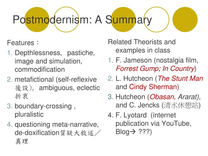 essay on post modernism The last post-modern film is 'a cock and bull story' which is based on the book, 'tristram shandy' which in itself is a post-modern novel with no real beginning, middle or end since the book is about a man attempting but failing to write his autobiography, the film takes the form of being about failing to make the film.