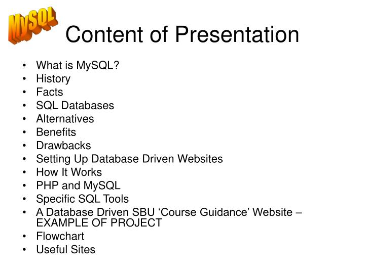 content of presentation n.