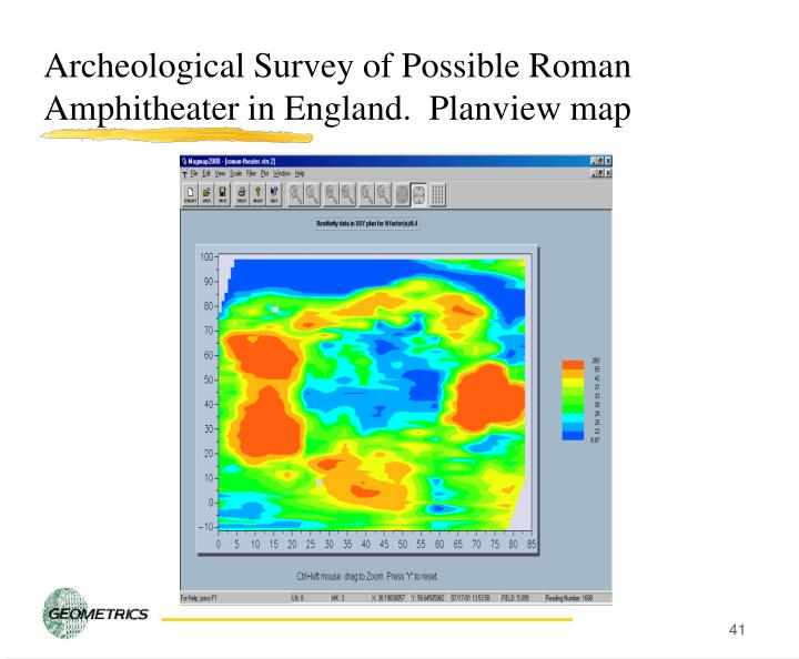 Archeological Survey of Possible Roman Amphitheater in England.  Planview map