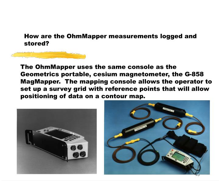 How are the OhmMapper measurements logged and stored?