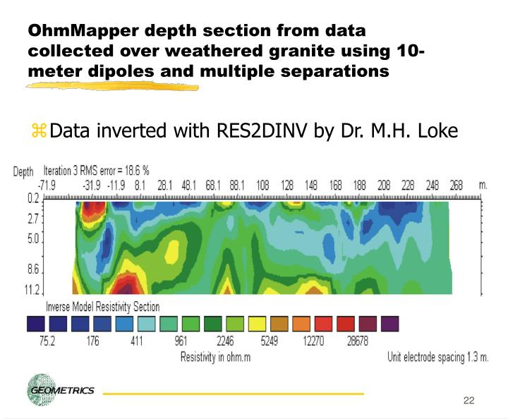 OhmMapper depth section from data collected over weathered granite using 10-meter dipoles and multiple separations
