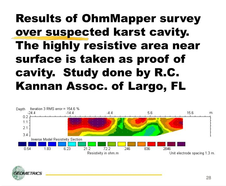 Results of OhmMapper survey over suspected karst cavity.  The highly resistive area near surface is taken as proof of cavity.  Study done by R.C. Kannan Assoc. of Largo, FL