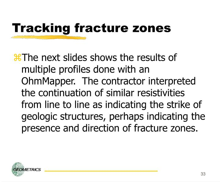 Tracking fracture zones