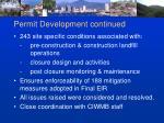 permit development continued