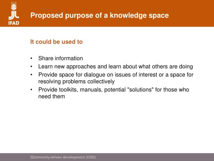 Proposed purpose of a knowledge space