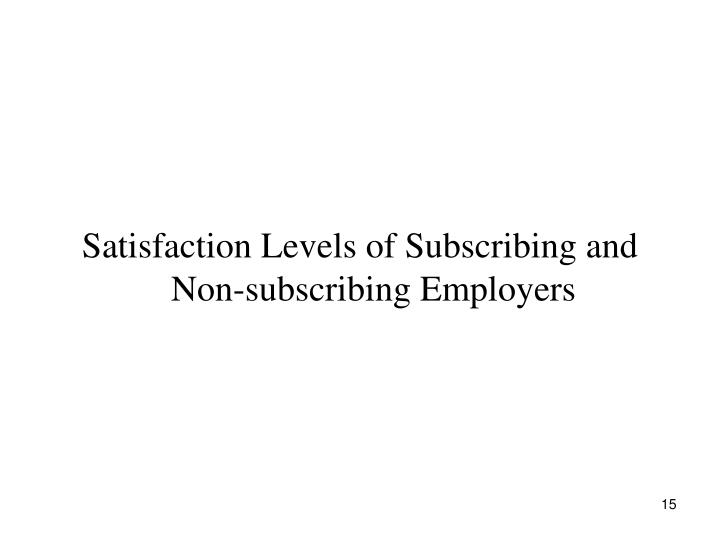 Satisfaction Levels of Subscribing and Non-subscribing Employers