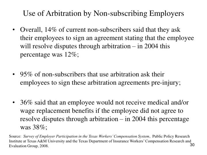 Use of Arbitration by Non-subscribing Employers