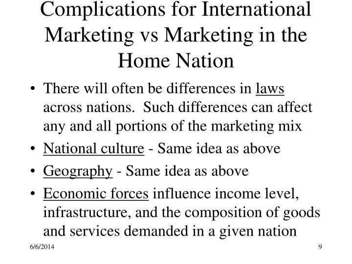 Complications for International Marketing vs Marketing in the Home Nation