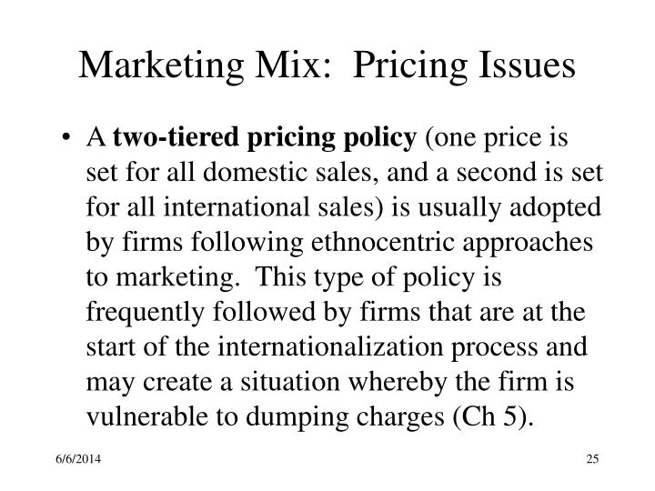 Marketing Mix:  Pricing Issues