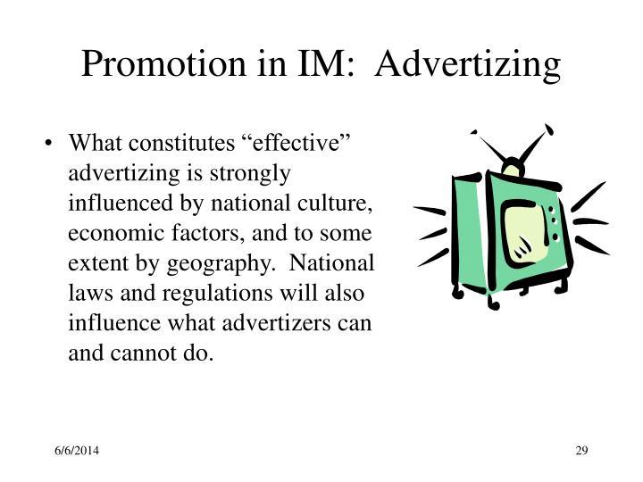 Promotion in IM:  Advertizing