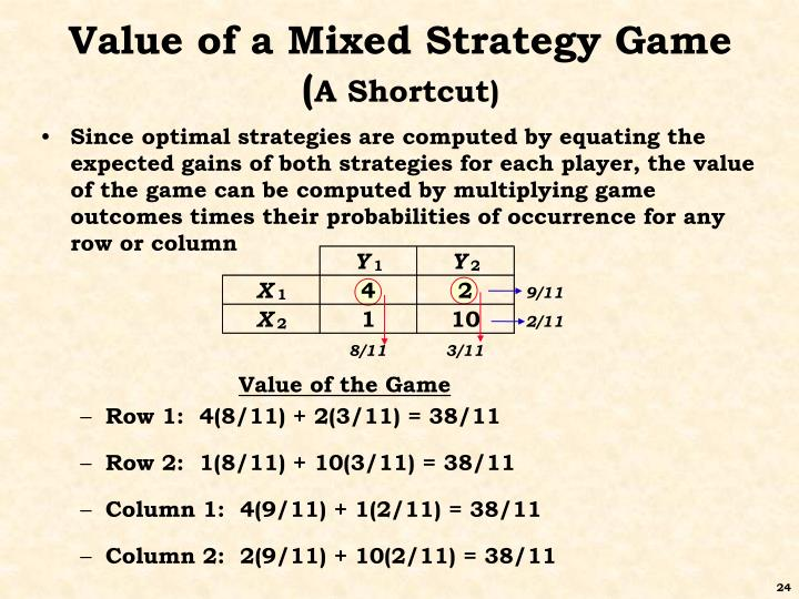 Value of a Mixed Strategy Game