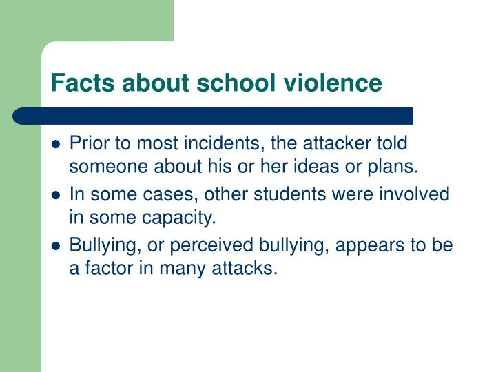 abstract about school violence Understanding school violence fact sheet 2016 school violence is youth violence that occurs on school property, on the way to or from school.
