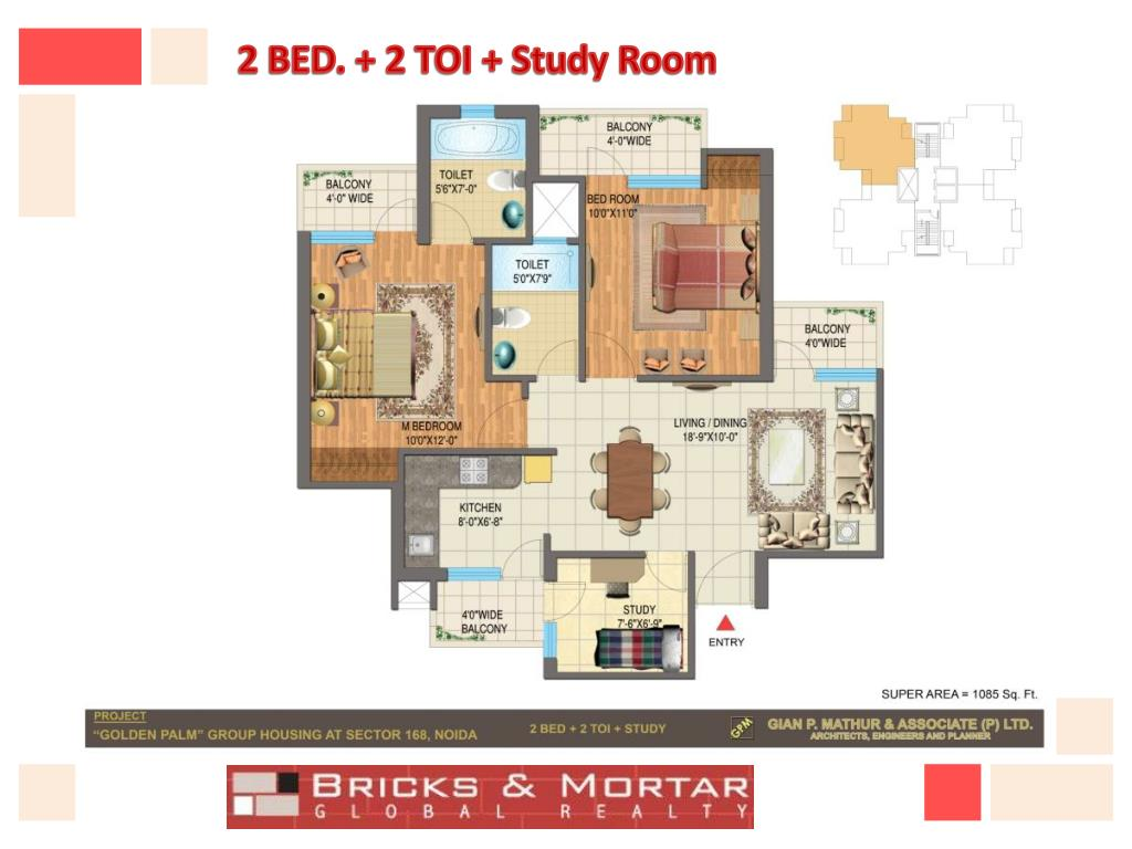 2 BED. + 2 TOI + Study Room