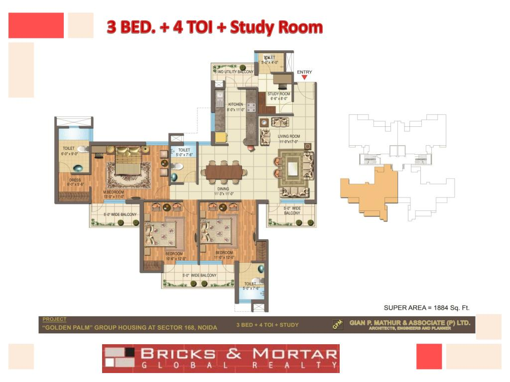 3 BED. + 4 TOI + Study Room