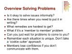 overview solving problems