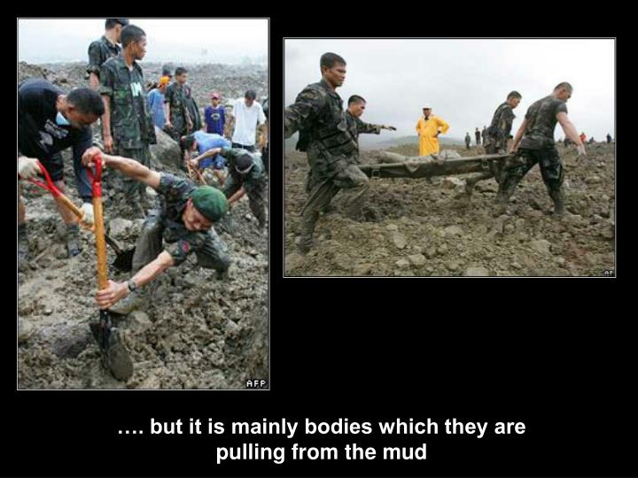 …. but it is mainly bodies which they are pulling from the mud