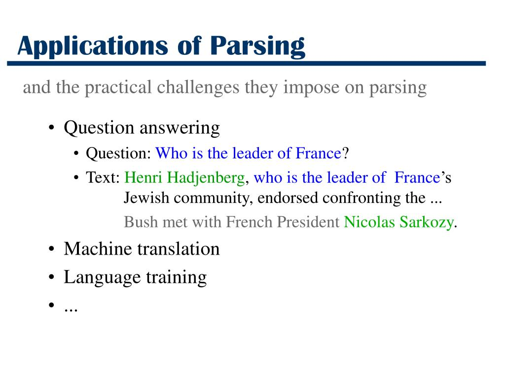 Applications of Parsing