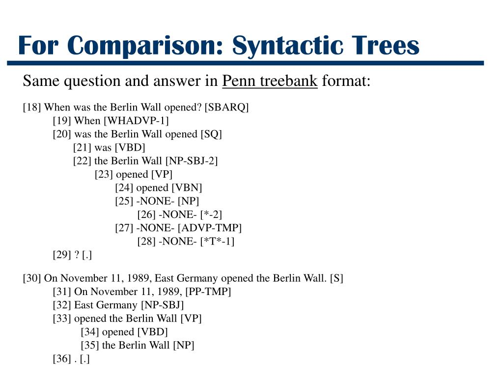 For Comparison: Syntactic Trees