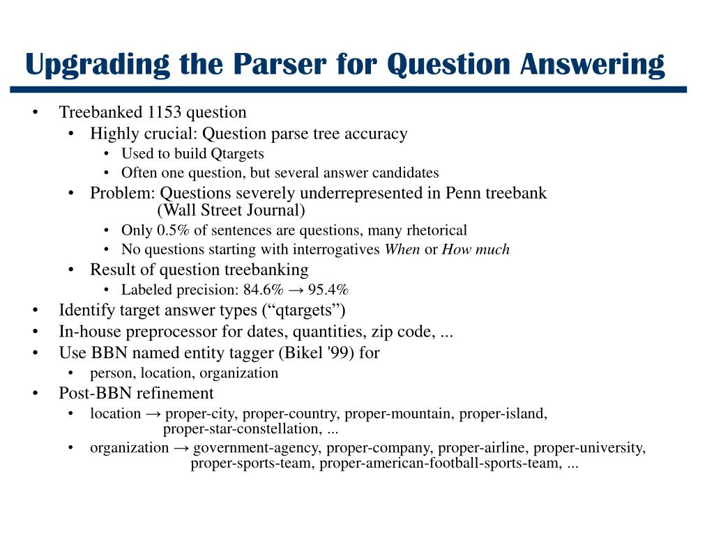Upgrading the Parser for Question Answering