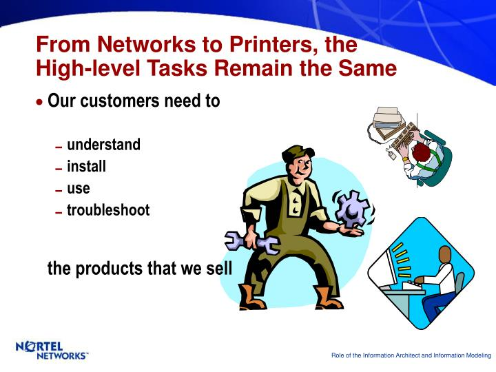 From networks to printers the high level tasks remain the same