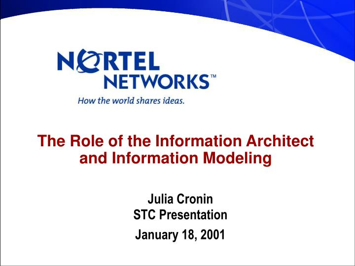 The role of the information architect and information modeling